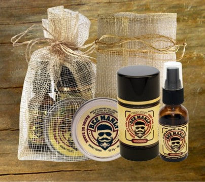 Bee Manly Gift Set- with Foot Bar| Best Beard Balm | Honey House Naturals