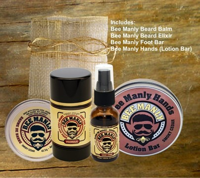 Bee Manly 3/pc Gift Set-ORGANIC | Best Beard Balm | Honey House Naturals